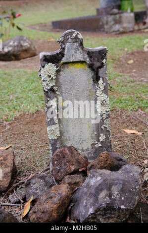 Grave and tombstone headstone with carved Chinese characters, The Kohala Tong Wo Society cemetery, Kohala, Big Island, - Stock Image