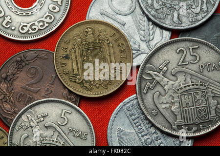 Coins of Spain under Franco. Coat of arms of Spain under Franco depicted in the Spanish one peseta coin (1966). - Stock Image