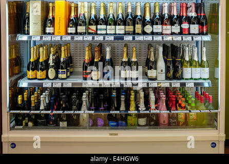 Chilled sparkling wines and champagnes in a liquor store in Melbourne Australia - Stock Image