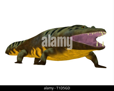 Mastodonsaurus was an aquatic carnivorous amphibian that lived in Europe during the Triassic Period. - Stock Image