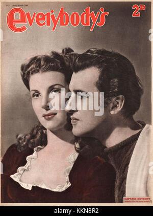 1947 Everybody's Magazine Kathleen Ryan & Stewart Granger - Stock Image