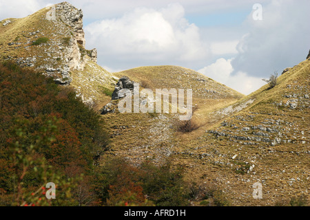 Glorious colour Sasso Tetto  mountain in the Sibillini National Park,Le Marche,the Marches, Italy - Stock Image