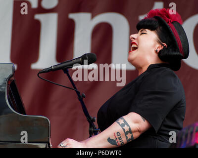 Montreal, Canada. 6/29/2018.Davina and the Vagabonds deliver characteristic New Orleans jazz at the Montreal International Jazz Festival. Credit: richard prudhomme/Alamy Live News - Stock Image
