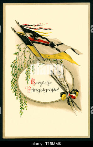 Germany, Hamburg, WW I, propaganda, patriotic Whitsun postcard with the text: 'Warmest Whitsun greetings ' with birch leafes and the Reichskriegsflagge, postcard sent 21. 05. 1915. , Additional-Rights-Clearance-Info-Not-Available - Stock Image
