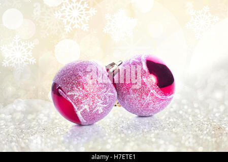 Christmas balls and snowflake on abstract background - Stock Image