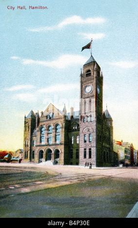 Old vintage Topographical Canadian Picture Postcard of the Old City Hall Hamilton Canada posted 1909 FOR EDITORIAL - Stock Image