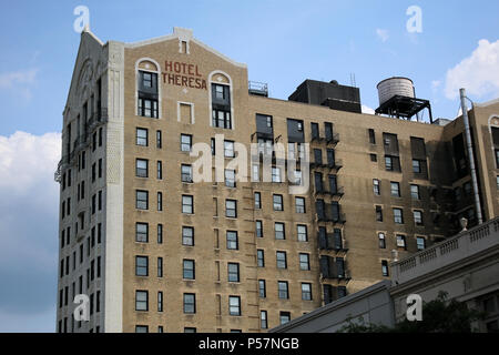 NEW YORK, NY - JULY 11: Famed Hotel Theresa's exterior in Harlem, Manhattan on JULY 11th, 2017 in New York, USA. (Photo by Wojciech Migda) - Stock Image