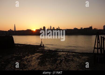 Sunset and City Skyline, Rotherhithe, London UK - Stock Image