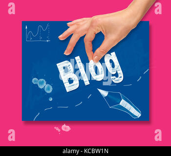 A hand picking up a Blog concept on a colorful drawing board. - Stock Image