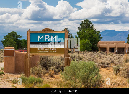 TAOS, NM, USA-6 JULY 18: The Millicent Rogers Museum of  southwestern heritage features collections of Native American, Hispanic art and artifacts. - Stock Image