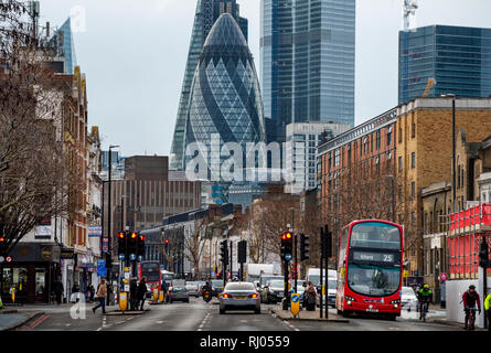 City of London photographed from Whitechapel Road. Feb 2019 Photograph from one of the poorest areas of Europe to the richest are of Europe. - Stock Image