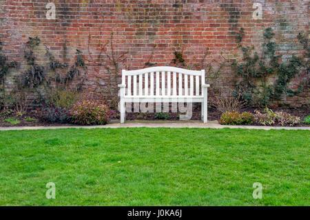 White Bench, Wentworth Garden Centre, Rotherham, Still Life - Stock Image