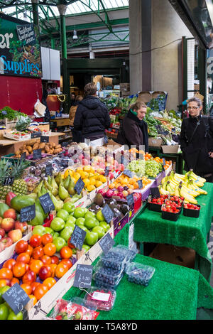 Fresh fruit and vegetables on sale in Borough Market in London. - Stock Image