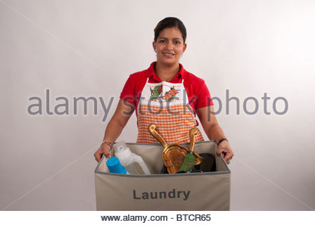 This maid is ready to work. - Stock Image
