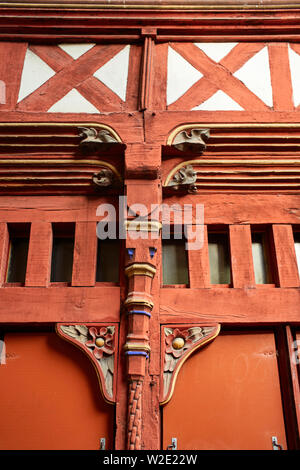 Wooden shopfront detain in Rennes the capital of Brittany, France - Stock Image