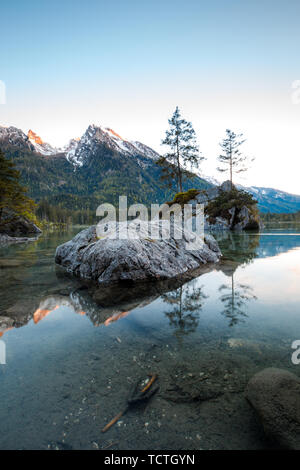 Wonderful Sunset at Hintersee Lake in Bavarian Alps. - Stock Image