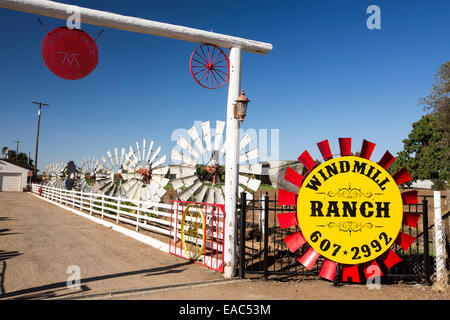 A collection of old wind pump blades at windmill ranch in the Central Valley, California, USA. - Stock Image
