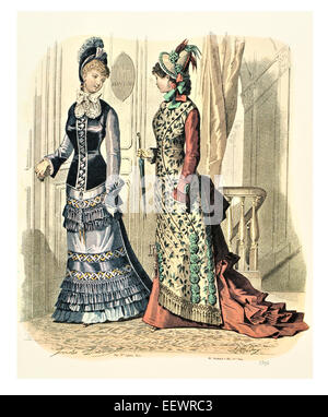 La Mode Illustree 1896 Victorian era period costume fashion dress gown gowns skirt veil cuff frills muslin cap embroidery - Stock Image