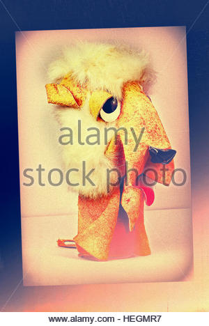 Lion vintage mid century suede soft toy retro studio shot - Stock Image