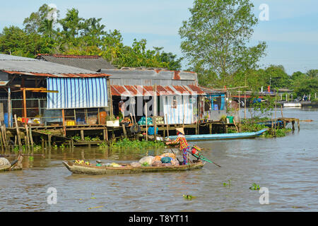 Phong Dien, Vietnam - December 31st 2017. A boat on the river at the Phong Dien Floating Market near Can Tho in the Mekong Delta - Stock Image
