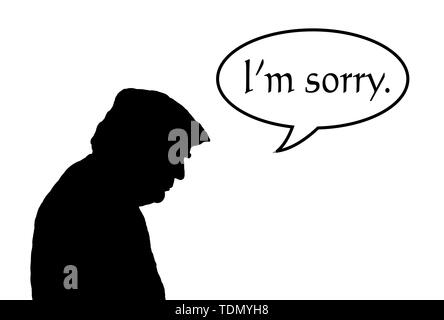 Illustration of a silhouette of USA American president Donald J Trump bowing his head with regret with a speech bubble saying 'I'm sorry'. - Stock Image