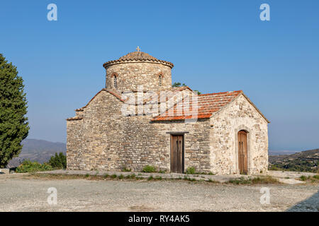 Byzantine style Archangel Michael 12th century church in Kato (Lower) Lefkara village famous for its needlework, Cyprus - Stock Image