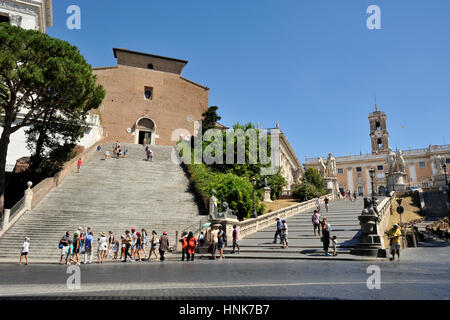 italy, rome, capitoline hill, church of santa maria in ara coeli and campidoglio - Stock Image