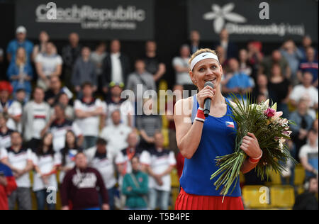 Prostejov, Czech Republic. 21st Apr, 2019. Czech tennis player Lucie Safarova officially ends her career, after winning with Barbora Krejcikova the play-off doubles game against Canada's Dabrowski-Fichman in the Fed Cup match between Czech Republic and Canada, in Prostejov, Czech Republic, on April 21, 2019. Credit: Lubos Pavlicek/CTK Photo/Alamy Live News - Stock Image