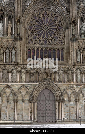 Nidaros cathedral in the town of Trondheim in Norway. - Stock Image
