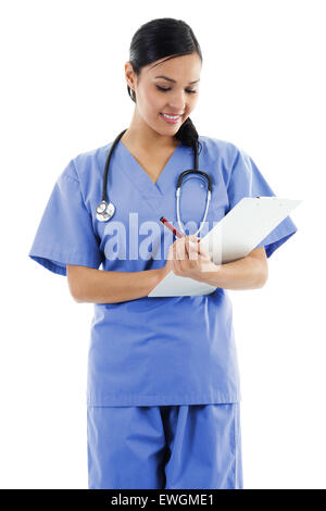 Female healthcare worker isolated on white background - Stock Image
