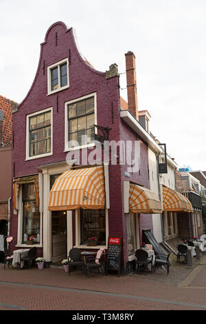 Bij Babette, a tea shop in Haarlem, the Netherlands. The cafe is within a building with a traditional design. - Stock Image