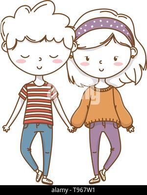 Romantic love couple cute stylish outfit sweater bandana vector illustration graphic design - Stock Image