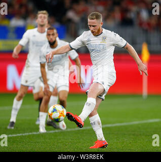 Optus Stadium, Burswood, Perth, W Australia. 17th July 2019. Manchester United versus Leeds United; pre-season tour; Adam Foresaw of Leeds United controls the loose ball in Manchester United's half Credit: Action Plus Sports Images/Alamy Live News - Stock Image
