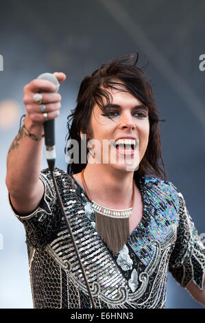 Southsea, UK. 24th Aug, 2014. Victorious Festival - Sunday, Southsea, Hampshire, England. Luke Spiller of The Struts - Stock Image