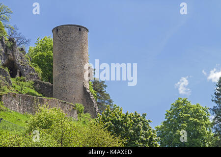 The Castle Ruin Of Loch In Der Oberpfalz Is The Rare Example Of A Cave Castle, Of Which There Are Very Few In Bavaria. - Stock Image
