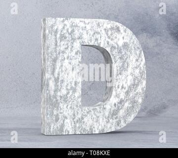 Concrete Capital Letter - D isolated on white background. 3D render Illustration - Stock Image