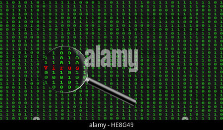 Internet or computer security concept. Virus found in page of binary code on computer screeen - Stock Image
