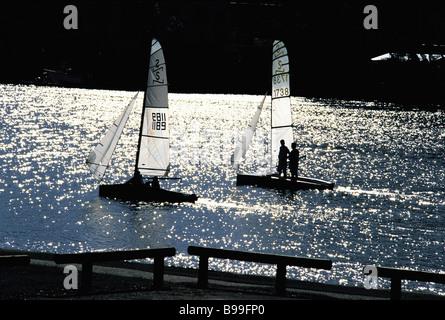 Sailing boats on Brisbane River - Stock Image