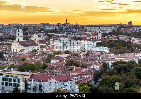 Aerial view of Vilnius city centre, Lithuania - Stock Image
