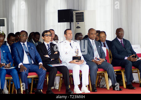 Abidjan, Ivory Coast - August 3, 2017: Epaulets ceremony for students leaving the Maritime Academy. forum of authorities invited to the ceremony. - Stock Image