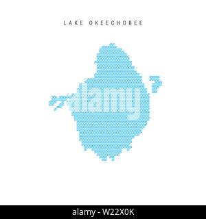 Vector Blue Wave Pattern Map of Lake Okeechobee, One of the Lakes of North America. Wavy Line Pattern Silhouette of Lake Okeechobee. - Stock Image