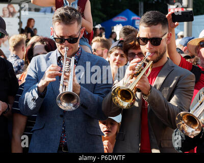 Montreal, Canada. 6/29/2018 . The Urban Science Brass Band perform at the Montreal International Jazz Festival. Credit: richard prudhomme/Alamy Live News - Stock Image