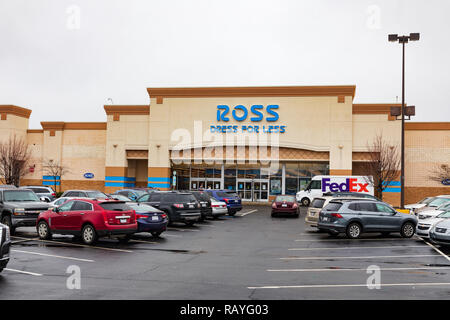 HICKORY, NC, USA-1/3/19: Ross Stores, Inc., aka Ross Dress for Less, is the largest chain of discount clothing stores in the US. - Stock Image