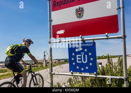 Border, Austria, European Union, Europe - Stock Image