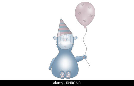 cute vector made illustration of blue fantasy animal creature with balloon, party hat and hearts, isolated on white background - Stock Image