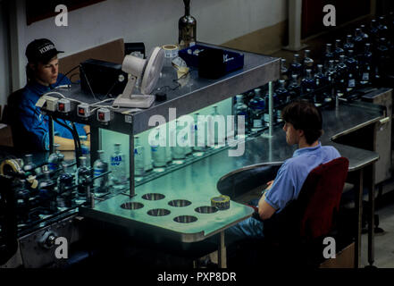 Absolut vodka made in Ahus,Skane region in south Sweden. Picture shows bottles on the assembly line passing inspection - Stock Image