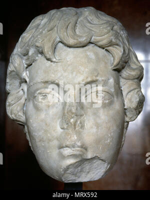 Caracalla (Lugdunum, 188-Mesoporamia, 217 AD). known as Antoninus. Roman Emperor from 198-217 AD. Severan Dynasty. Marble bust from Markouna, Argelia. 3rd century AD. Louvre Museum. Paris, France. - Stock Image