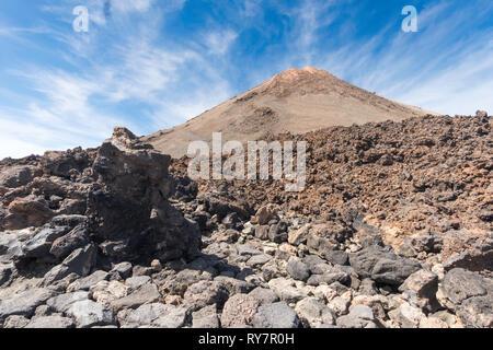Mount Teide, volcano in Teide National Park, Tenerife, Canary Islands - Stock Image