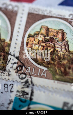 Italian stamps on an air mail letter - Stock Image