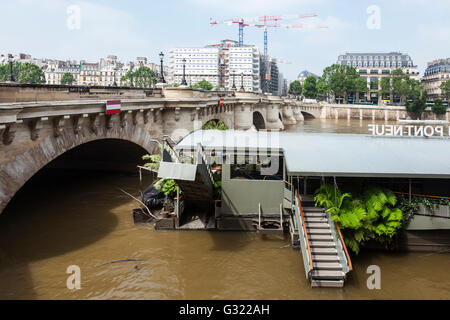 Paris, France. 06th June, 2016. Flood decrease, decrue de la Seine, Pont Neuf, Jardins du Pont Neuf, Paris, 06/06/2016 - Stock Image